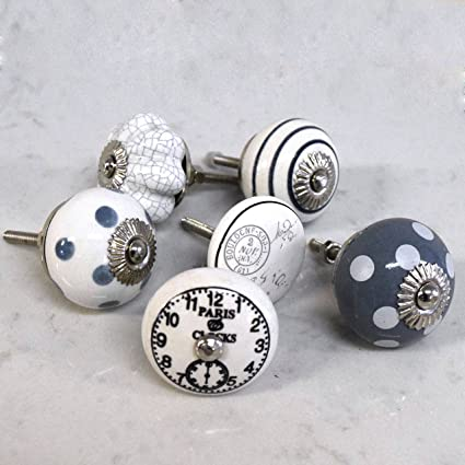 Set Of 6 Ceramic Grey White Vintage Shabby Chic Clocks Spotted Striped  Cupboard Cabinet Door Knobs
