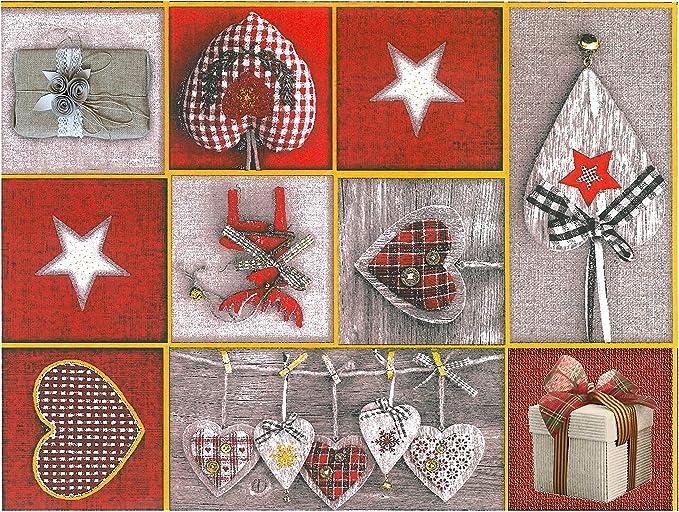 Mantel de hule, Navidad, rectangular 140 x 240cm Rojo Gris: Amazon ...