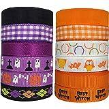"DUOQU 24 Yards 3/8"" 12 Styles ( 12x2yd ) Halloween Ribbon With Grosgrain Ribbon Plaid Ribbon Snow Yarn Printed Halloween Element Pattern Orange And Purple Series"