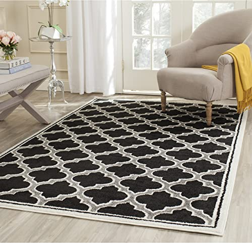 Safavieh Amherst Collection AMT412G Moroccan Geometric Area Rug, 9 x 12 , Anthracite Ivory