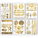 Terra Tattoos Gold Metallic Henna Temporary Tattoos – 75+ Designs Elephants, Flowers, Evil Eye & more! Waterproof Nontoxic Lo