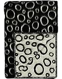 Roros Tweed Designer 100% Norwegian Wool Throw Blanket in Many Patterns (Champagnebobler in Black/Natural)