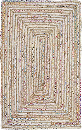 Safavieh Cape Cod Collection CAP202B Handmade Beige and Multicolored Jute Area Rug 2 x 3