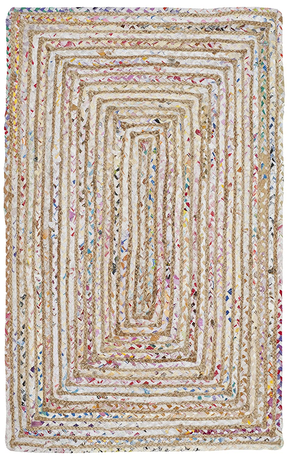 Safavieh Cape Cod Collection CAP202B Handmade Beige and Multicolored Jute Area Rug (2' x 3')
