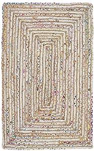 Safavieh Cape Cod Collection CAP202B Handmade Beige and Multicolored Jute Area Rug (2' x 3')