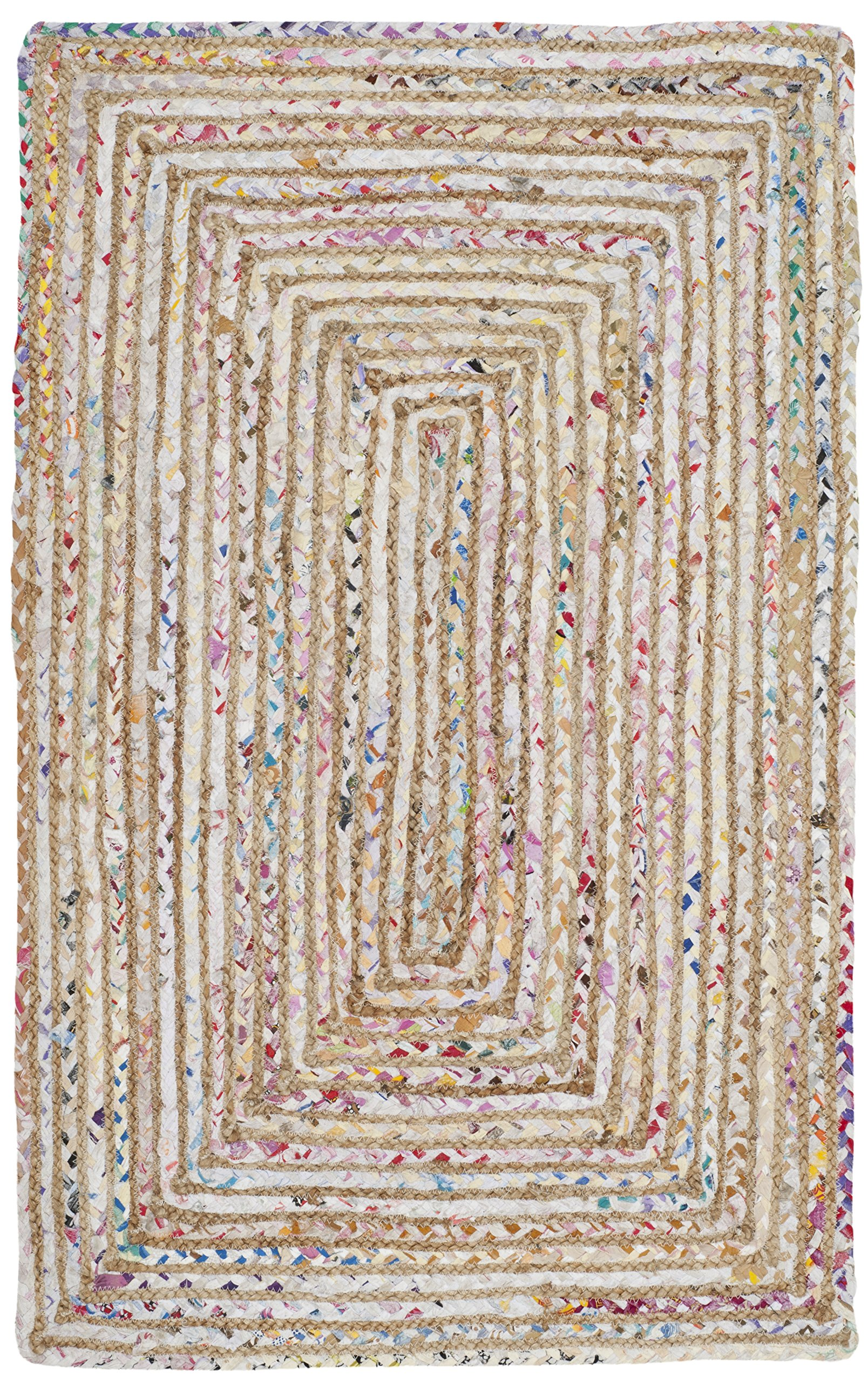 Safavieh Cape Cod Collection CAP202B Handmade Beige and Multicolored Jute Runner (2'3 x 4')