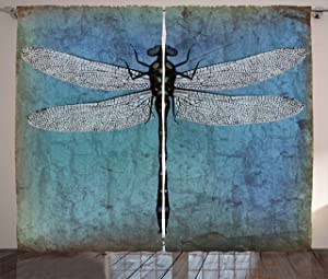 Ambesonne Dragonfly Curtains, Grunge Vintage Old Backdrop and Dragonfly Bug Ombre Image, Living Room Bedroom Window Drapes 2 Panel Set, 108 W X 63 L Inches, Blue Turquoise