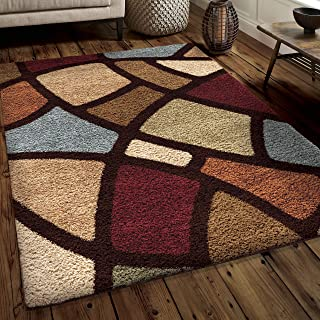 "product image for Orian Rugs Impressions Shag Circle Bloom Area Rug, 5'3"" x 7'6"", Multicolor"