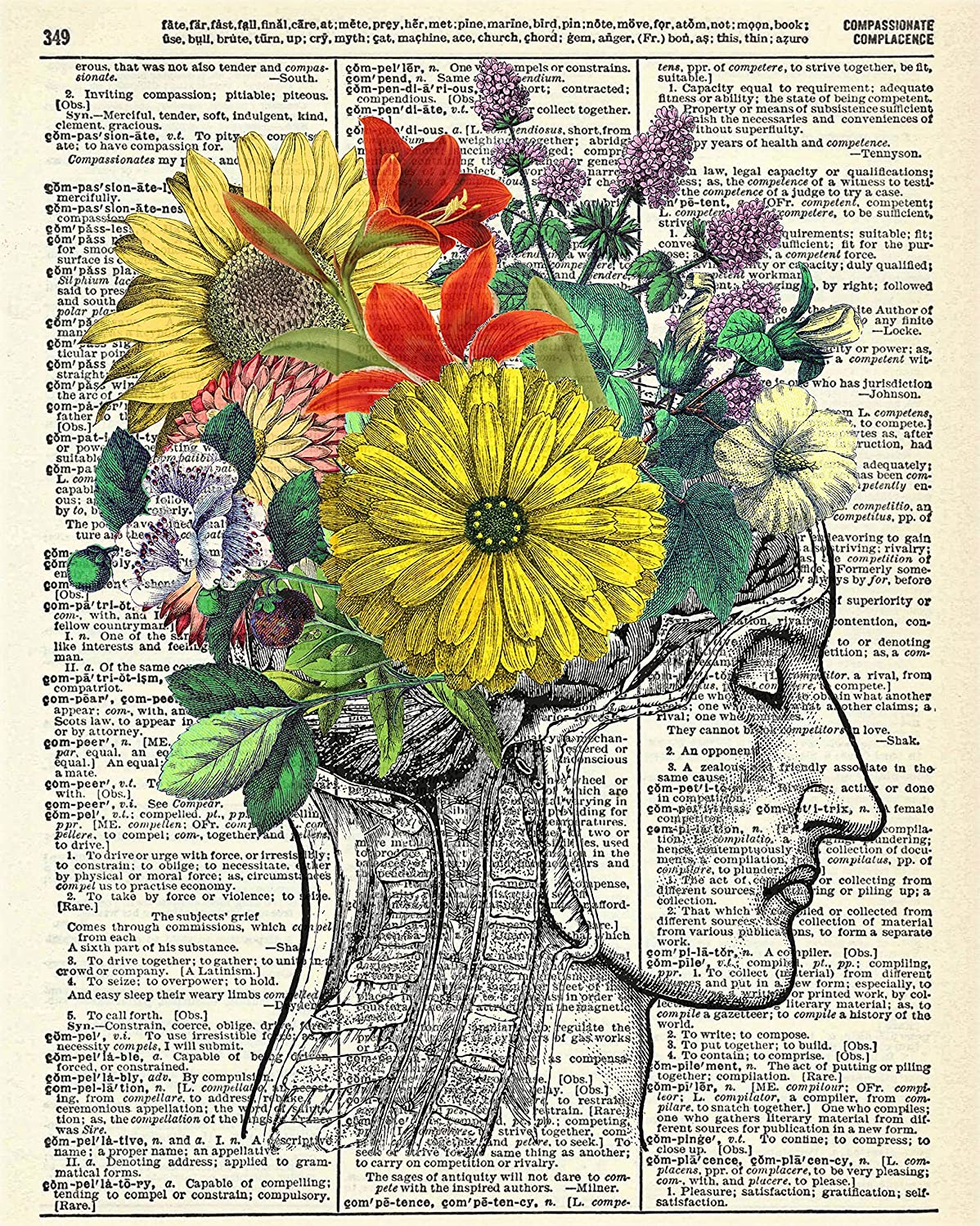 Beautiful Mind Human Anatomy With Flowers Vintage Wall Art Upcycled Dictionary Art Print Poster 8x10 inches Unframed