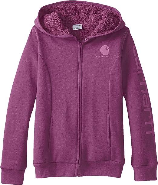Carhartt Baby Girls Logo Brushed Fleece Zip Front Sweatshirt Sherpa Lined