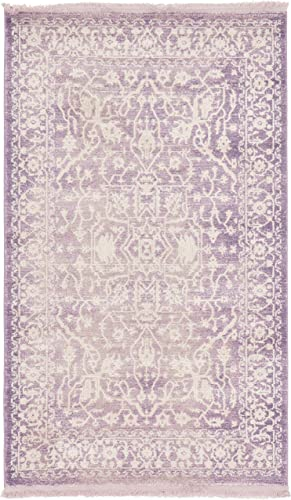 Unique Loom New Classical Collection Traditional Distressed Vintage Classic Purple Area Rug 3' 3 x 5' 3