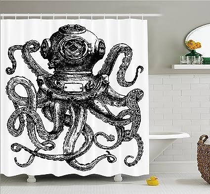 Ambesonne Octopus Shower Curtain Vintage Style Diver Helmet Marine Animal Tentacles Scuba Concept Cloth