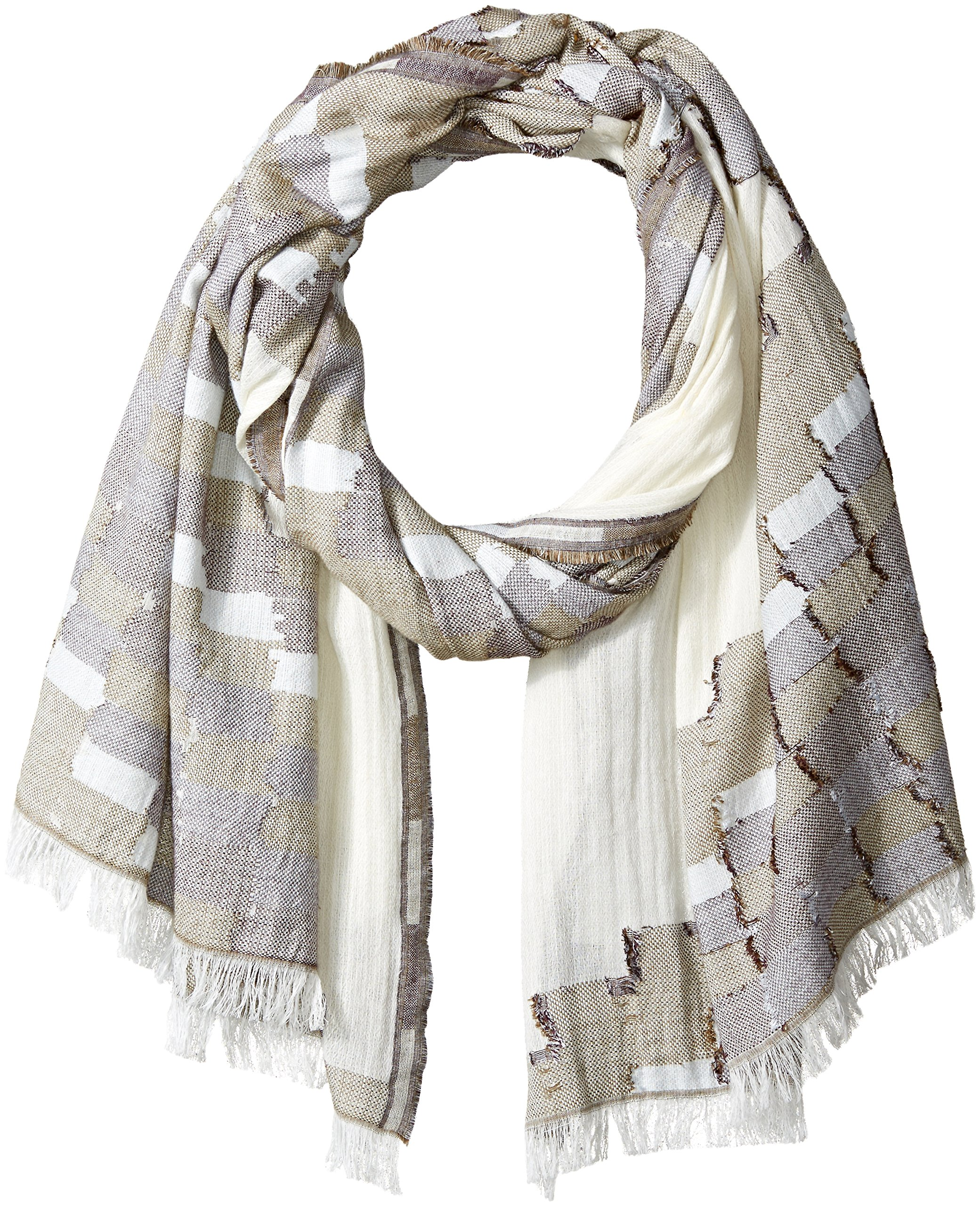 French Connection Women's Dora Lightweight Scarf, Summer White/Burnt Olive/Bordeaux, O/S