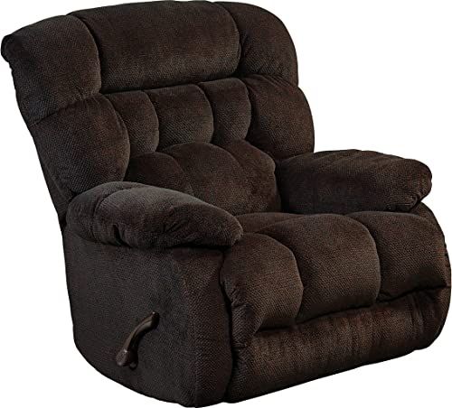 Catnapper Upholstered Chaise Rocker Recliner in Chocolate Finish