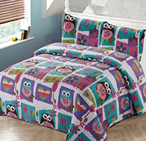 Better Home Style Pink Purple Brown and Turquoise Blue Kids/Teenage/Girls Coverlet Bedspread Quilt Set with Pillowcases Night Owls Hearts and Flower Designs # 2019169 (Twin)