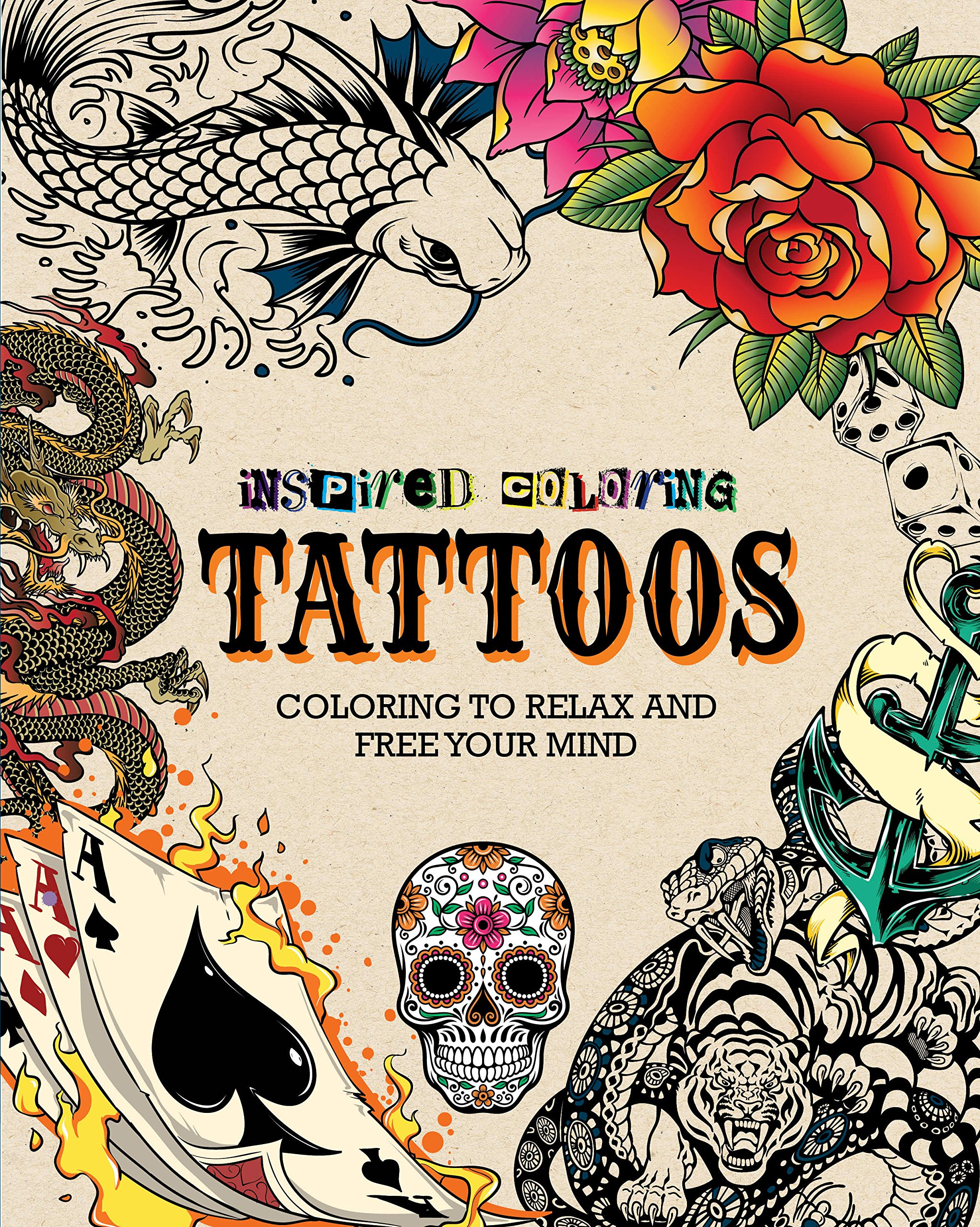 tattoos inspired coloring parragon books 9781472392640 amazoncom books - Tattoo Coloring Books