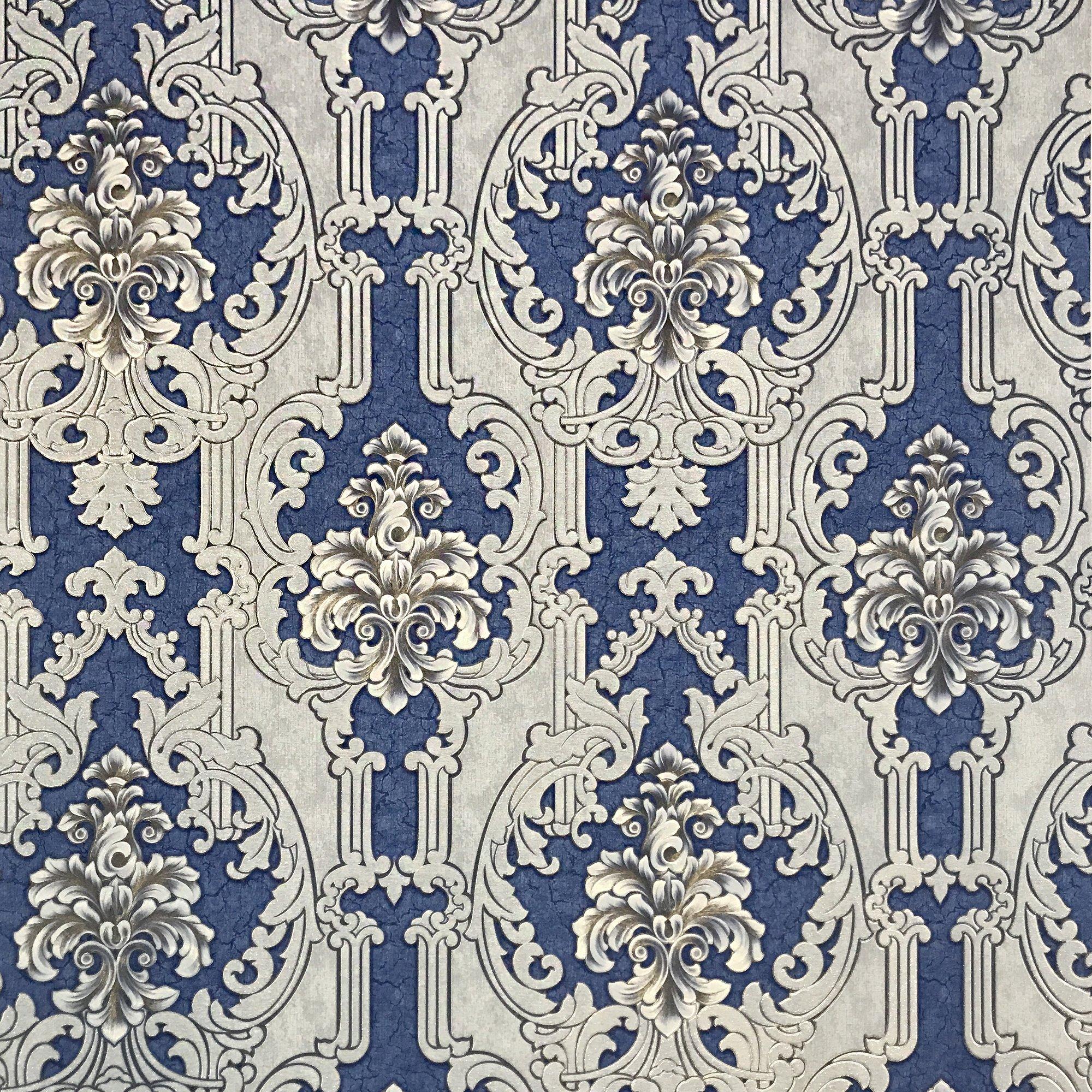 113.52sq.ft rolls paste the wall only Embossed Slavyanski wallcoverings vintage victorian damask pattern Vinyl Non-Woven Wallpaper silver blue bronze metallic grey textured gold glitters modern design
