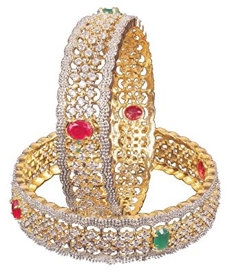 955cfb7c9 Amazon.com: Shiv_Collection Gorgeous Traditional Bollywood Fashion CZ Stone Indian  Bangles for Women Jewelry (DBV-08, 2.10): Jewelry