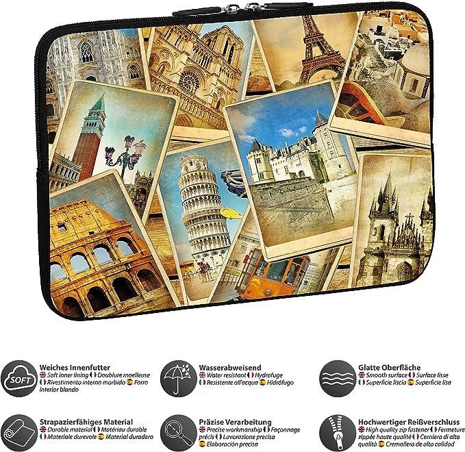 PEDEA Set 020-66060436 Carcasas Dise/ño Viaje del Vintage para port/átil 15,6 Pulgadas , rat/ón inal/ámbrico, Mouse Pad 39,6 cm