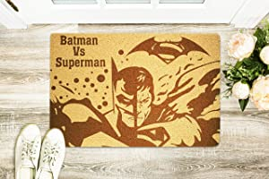 Batman vs Superman Doormat Dc Comics Door Mat Welcome Floor Mat Home Supplies Outside Inside Décor Accessories Unique Gift Handmade Present Idea Original Design Personalized Doormat