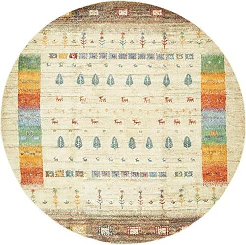 Unique Loom Native Collection Tribal Modern Kids Cream Round Rug 8 2 x 8 2