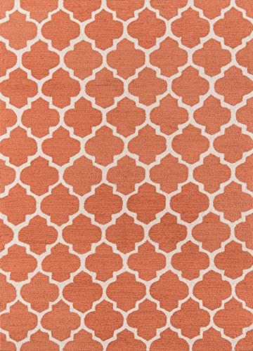 Momeni Geo Collection Contemporary Hand Hooked Area Rug, 7 6 X 9 6 , Pumpkin