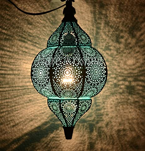 best website 05d74 a7c71 Turquoise Moroccan Hanging Night Light Metal Pendant Ceiling ...
