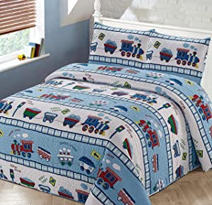 Better Home Style Red White and Blue Choo Choo Train Railroad Tracks Kids/Boys/Toddler Coverlet Bedspread Quilt Set with Pillowcases # 2014120 (Queen/Full)