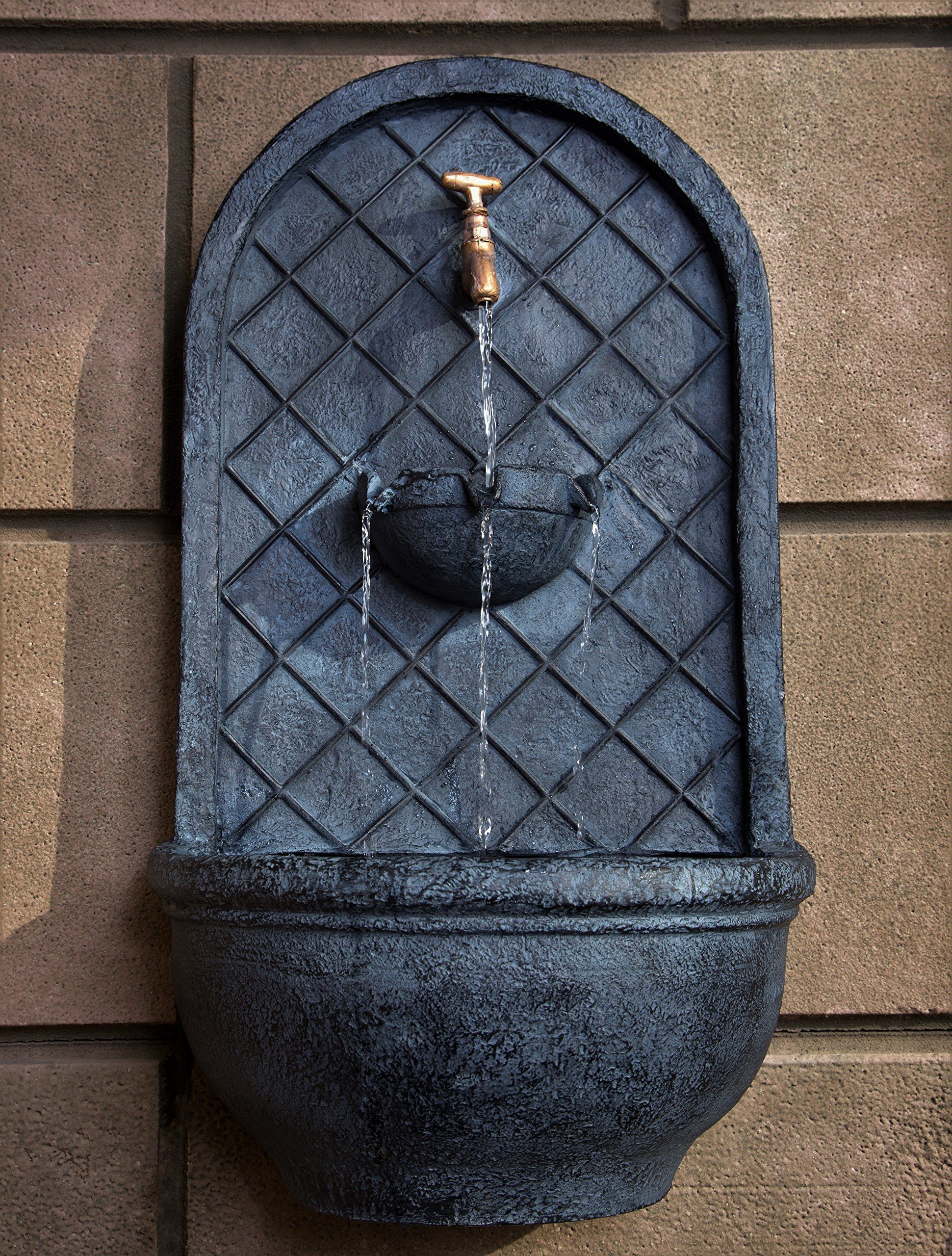 The Milano - Outdoor Wall Fountain - Slate Grey Finish - Water Feature for Garden, Patio and Landscape Enhancement by Harmony Fountains