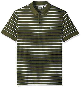 924b7dec5cf6 Lacoste Men s Short Sleeve Striped Mini Pique Regular Fit Polo ...