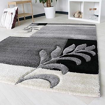 Designer Teppich Floral Kurzflor Modern Braun Konturenschnitt Meliert