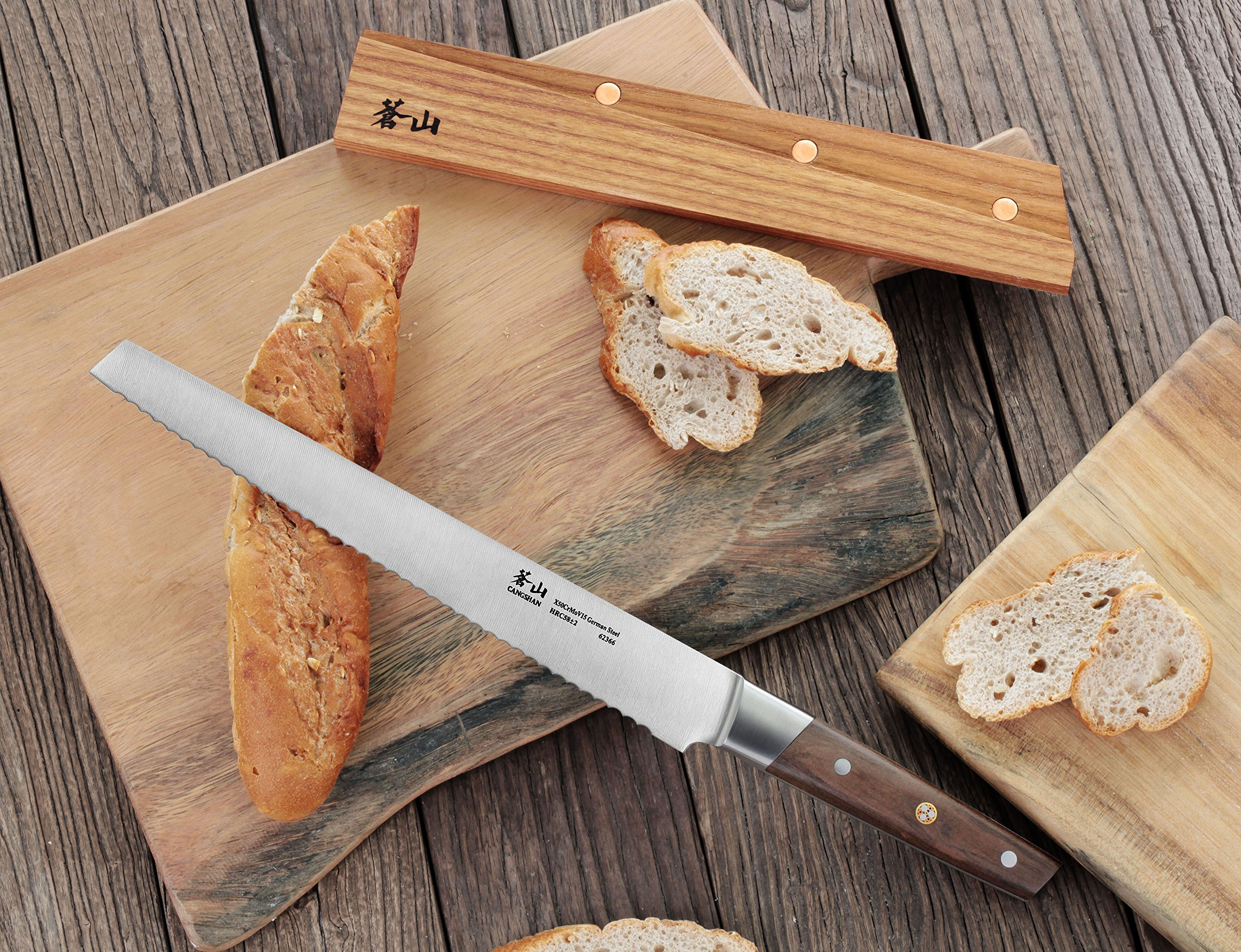 Cangshan R Series 62649 German Steel Forged Bread Knife with Ashwood Sheath, 10.25-Inch 5 Unique patent pending design that focuses on rich ultra-dense African blackwood handle Full tang forged from x50cr15mov german steel with hrc 58 +/- 2 on the rockwell hardness scale 8 in. bread knife perfect for slicing through a types of bread