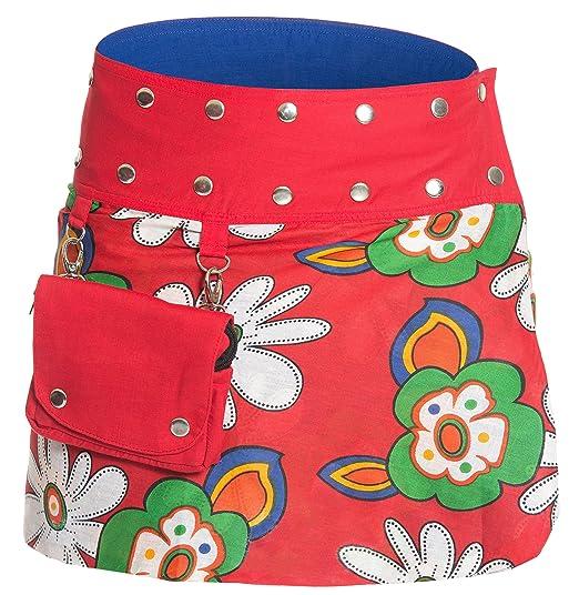 5dcdee4e791420 Ufash Mini Jupe Portefeuille été pour Femme, réversible, Taille réglable  avec sa Ceinture Bouton Pression - Plusieurs Designs différents