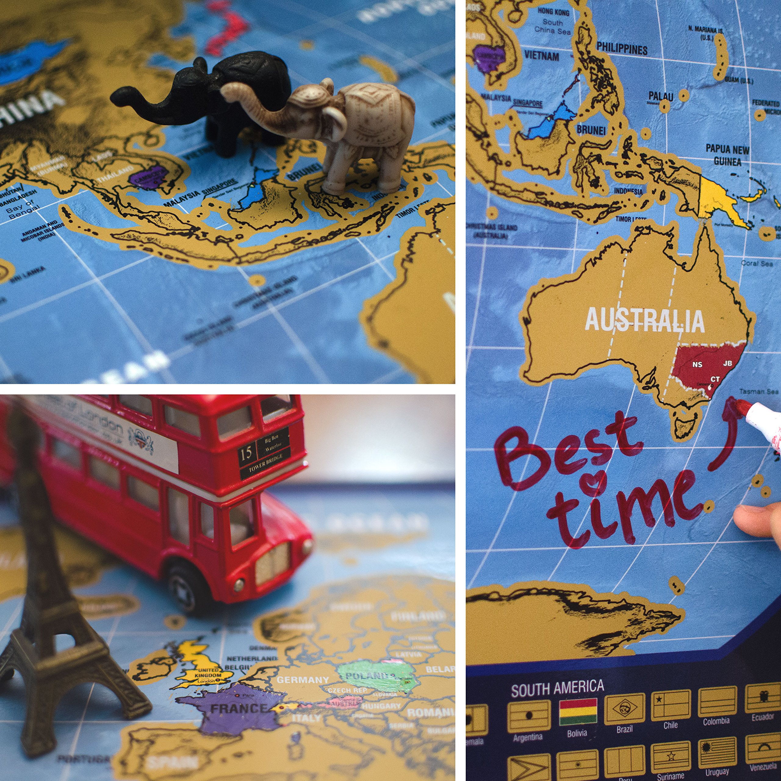 Scratch off Map of the World, with country flags and US state borders - Laminated surface - Scrape tool included - Bright and Vibrant Colors - Designed by Dotty N'Spotty by Dotty N'Spotty (Image #8)