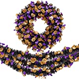 Valery Madelyn Tinsel Halloween Wreath and Garland Set for Front Door, Naughty Treat-or-Trick Pumpkin and Bat Ornaments…