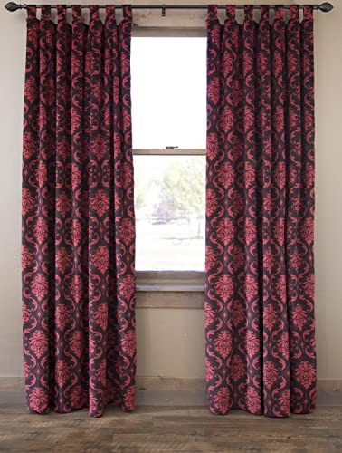 North End Decor Red Damask Classic Formal Velvet Tab Top 54 x 84 Set of 2 Curtain Panels,