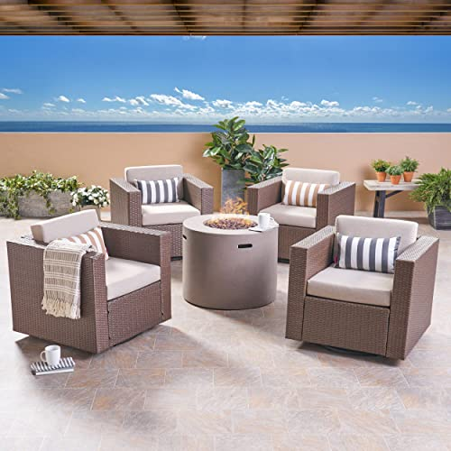 Great Deal Furniture Leon Outdoor 4 Piece Swivel Club Chair Set