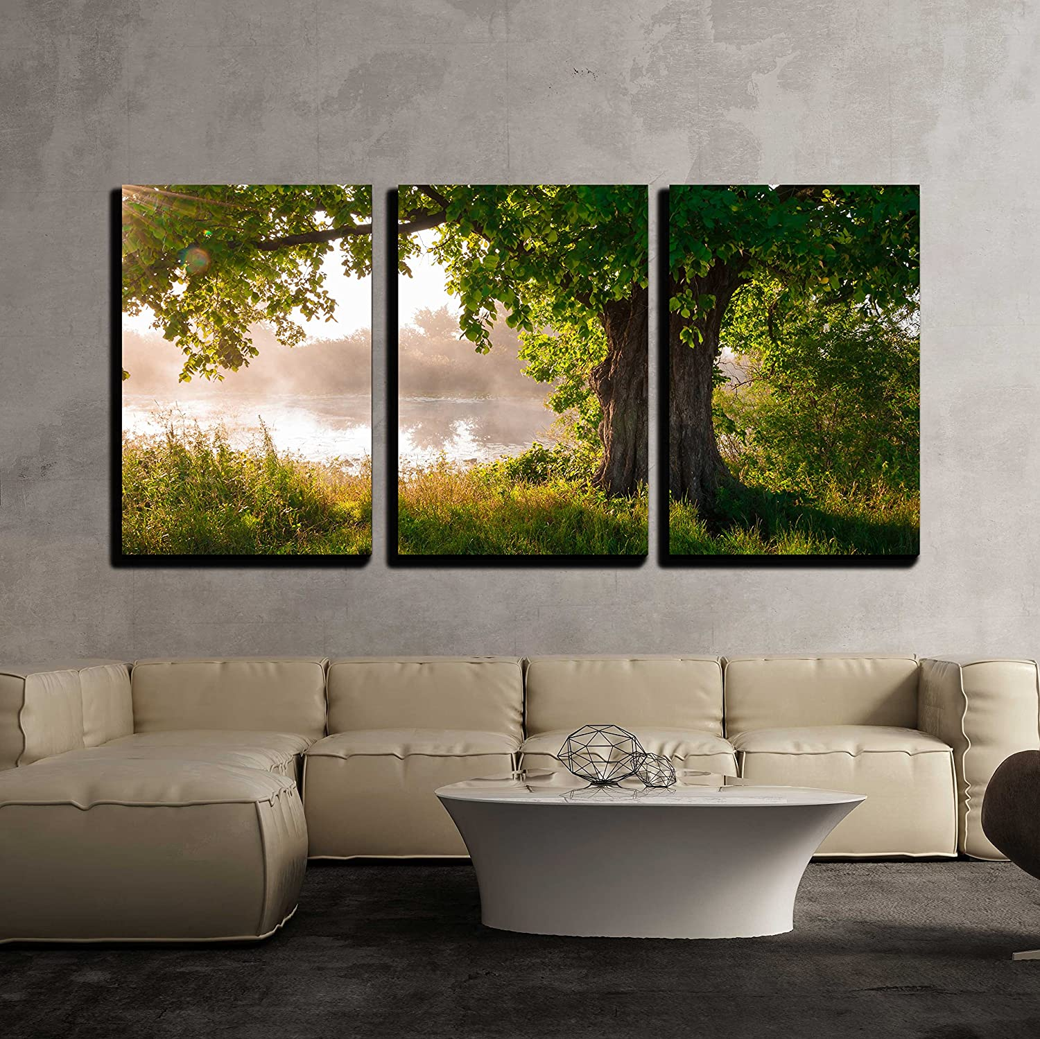3 Piece Canvas Wall Art - Oak Tree in Full Leaf in Summer Standing Alone - Modern Home Art Stretched and Framed Ready to Hang - 16