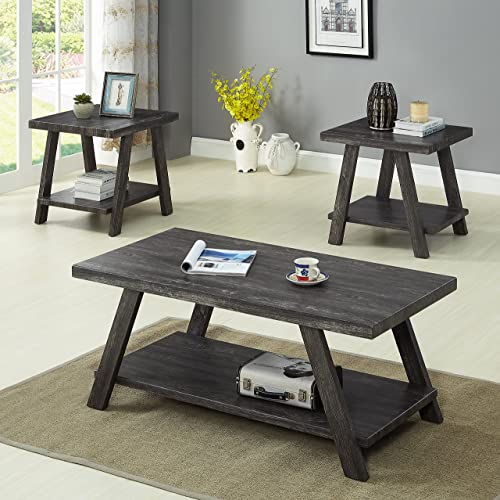 Roundhill Furniture Athens, Coffee Table Set, Grey