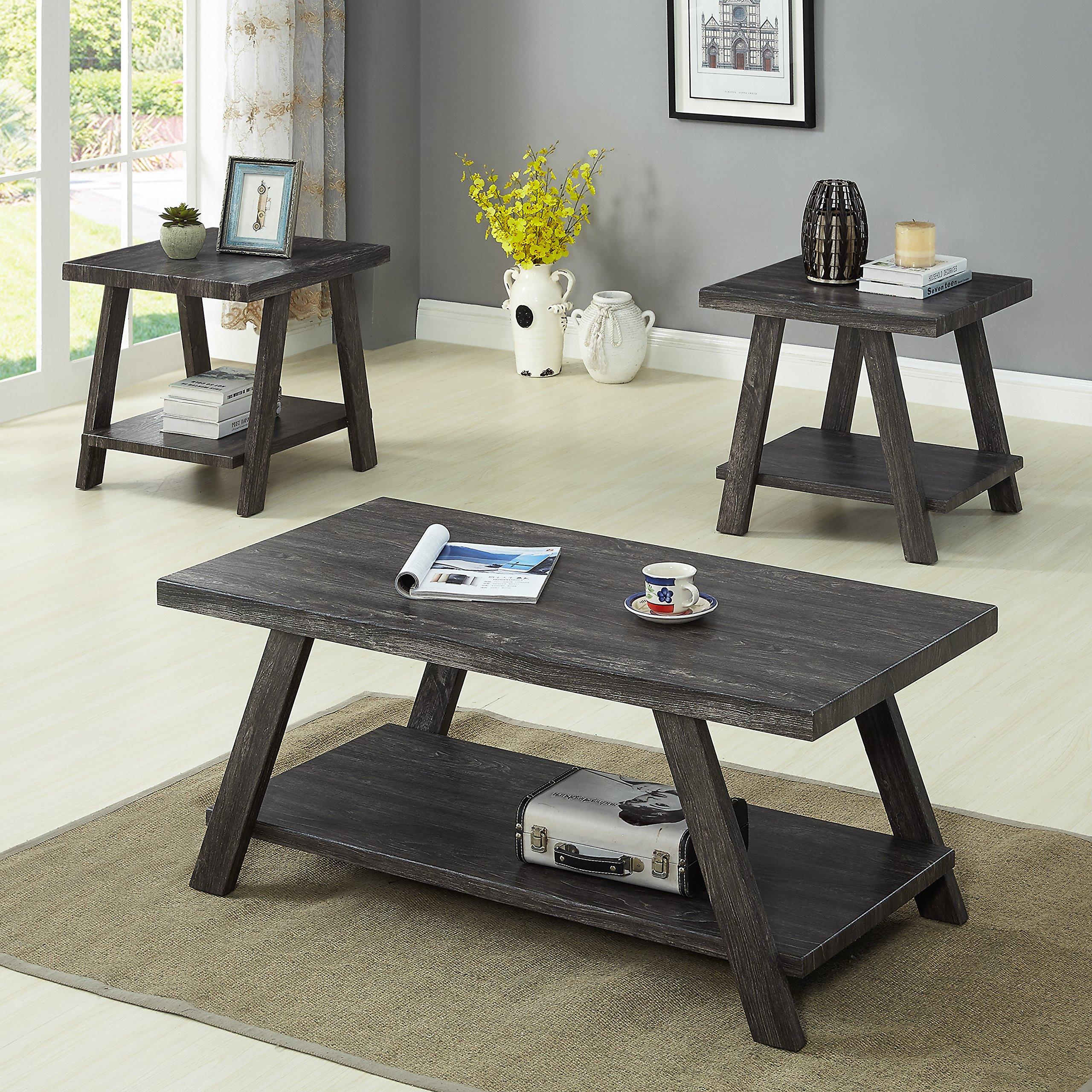 Roundhill Furniture OS3371 Athens, Coffee Table Set, Grey