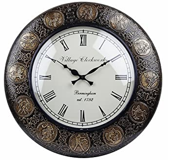 Buy Swagger 12 inches Dial 18X18 inches Zodiac Brass Wall clock
