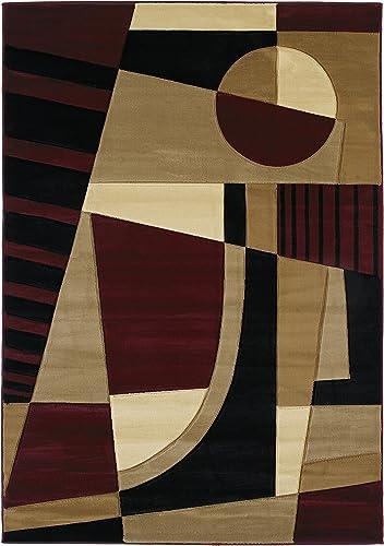 United Weavers of America Contours Collection Urban Angles Heavyweight Heatset Olefin Rug, 7-Feet 10-Inch by 10-Feet 6-Inch, Burgundy