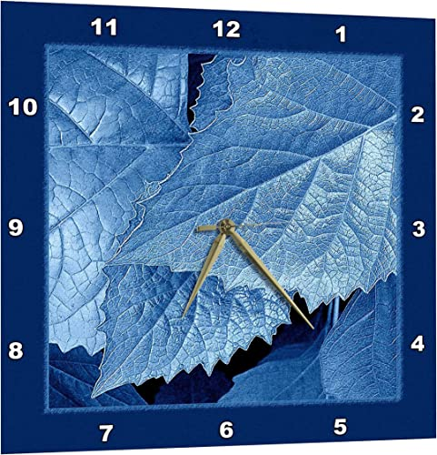 3dRose Cobalt Blue Metallic Leaves with Royal Blue Frame – Wall Clock, 13 by 13-Inch DPP_33455_2