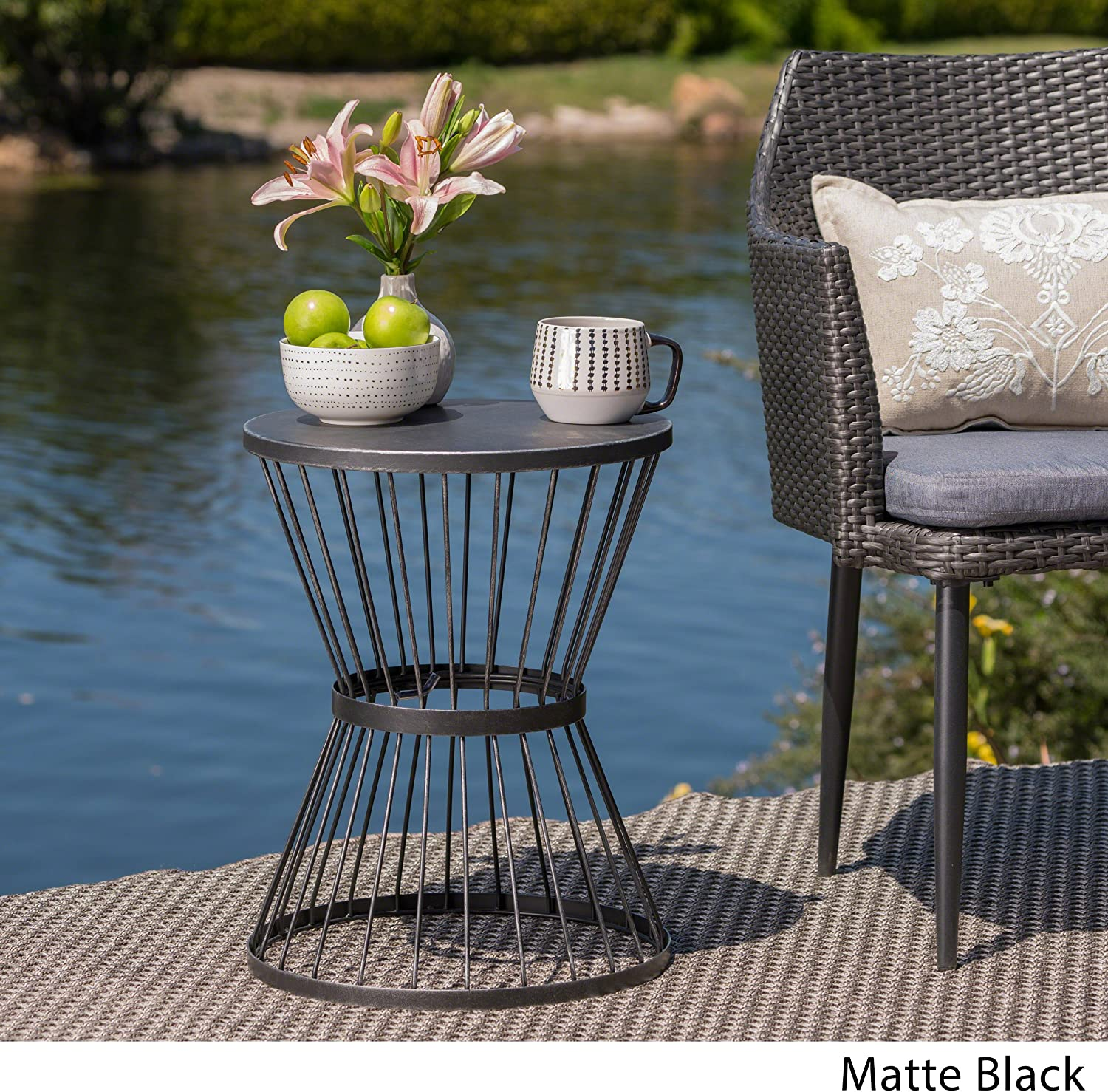Christopher Knight Home 304131 Fern Outdoor 16 Inch Matte Black Iron Side Table