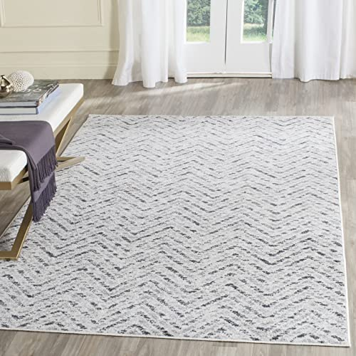Safavieh Adirondack Collection ADR104N Ivory and Charcoal Modern Distressed Chevron Area Rug 3 x 5