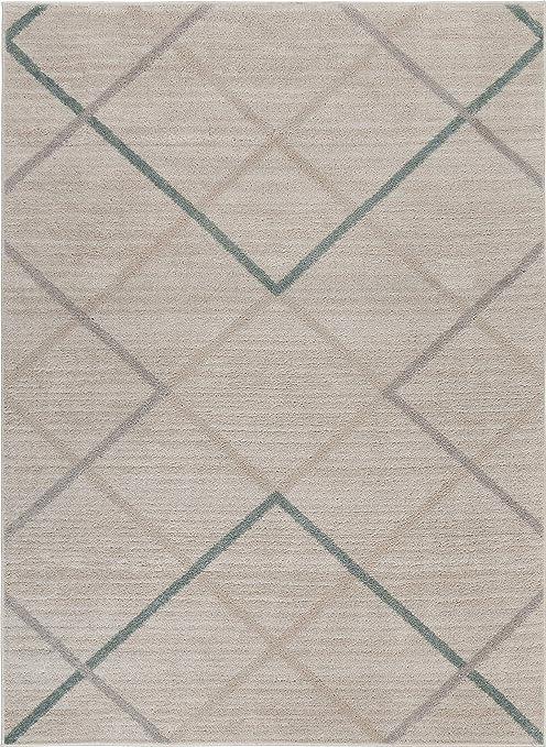 Lr Home Minimalist Multicolored Argyle Area Rug Ivory Multi 7 9 X 9 5 Furniture Decor