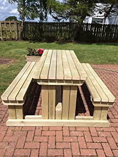 Handmade Outdoor Furniture in UK Rustic Brown Heavy Duty Pressure Treated 4FT ABIES Wooden Garden Picnic Table With Attached Benches
