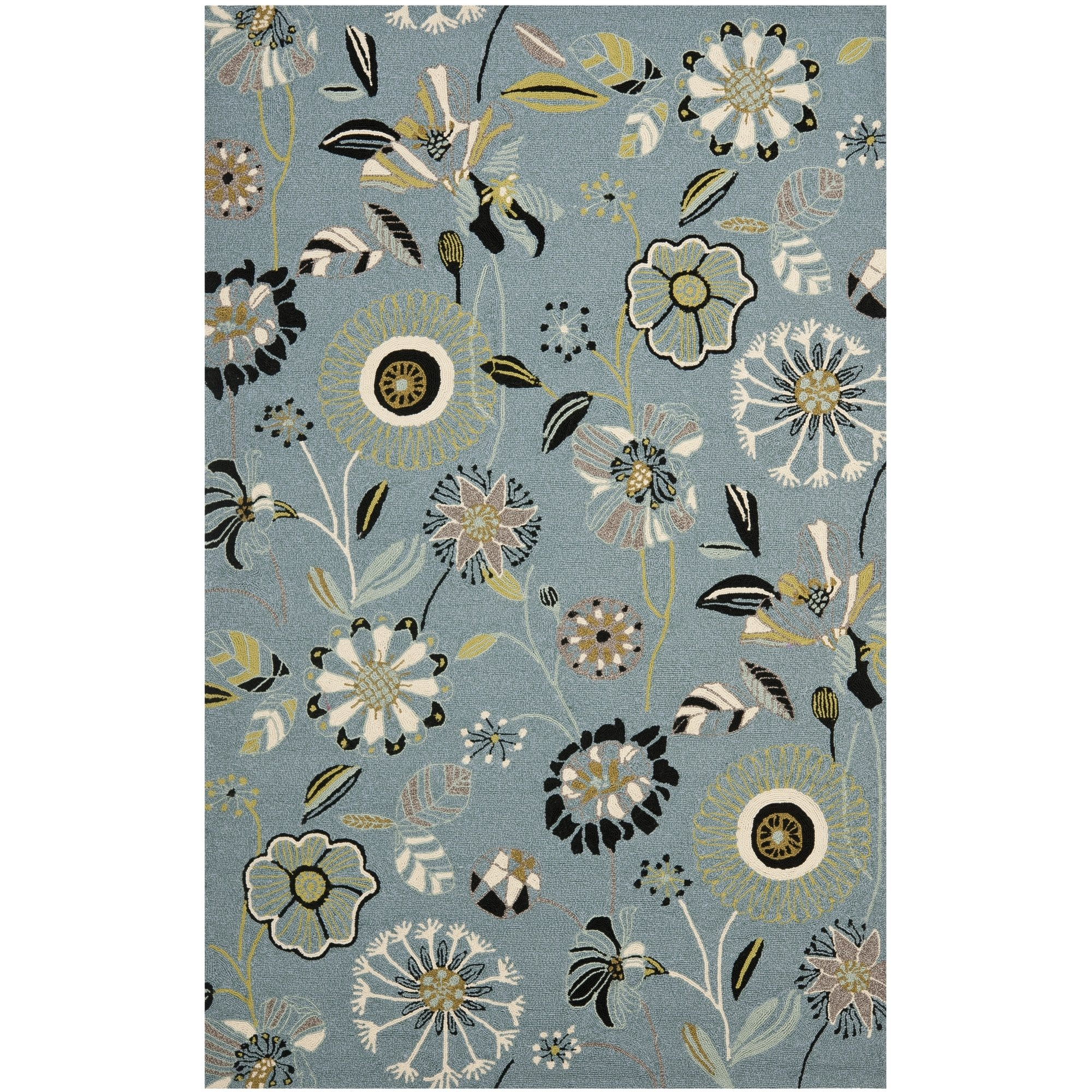Safavieh Four Seasons Collection FRS482B Hand-Hooked Blue and Multi Indoor/ Outdoor Area Rug (8' x 10') by Safavieh