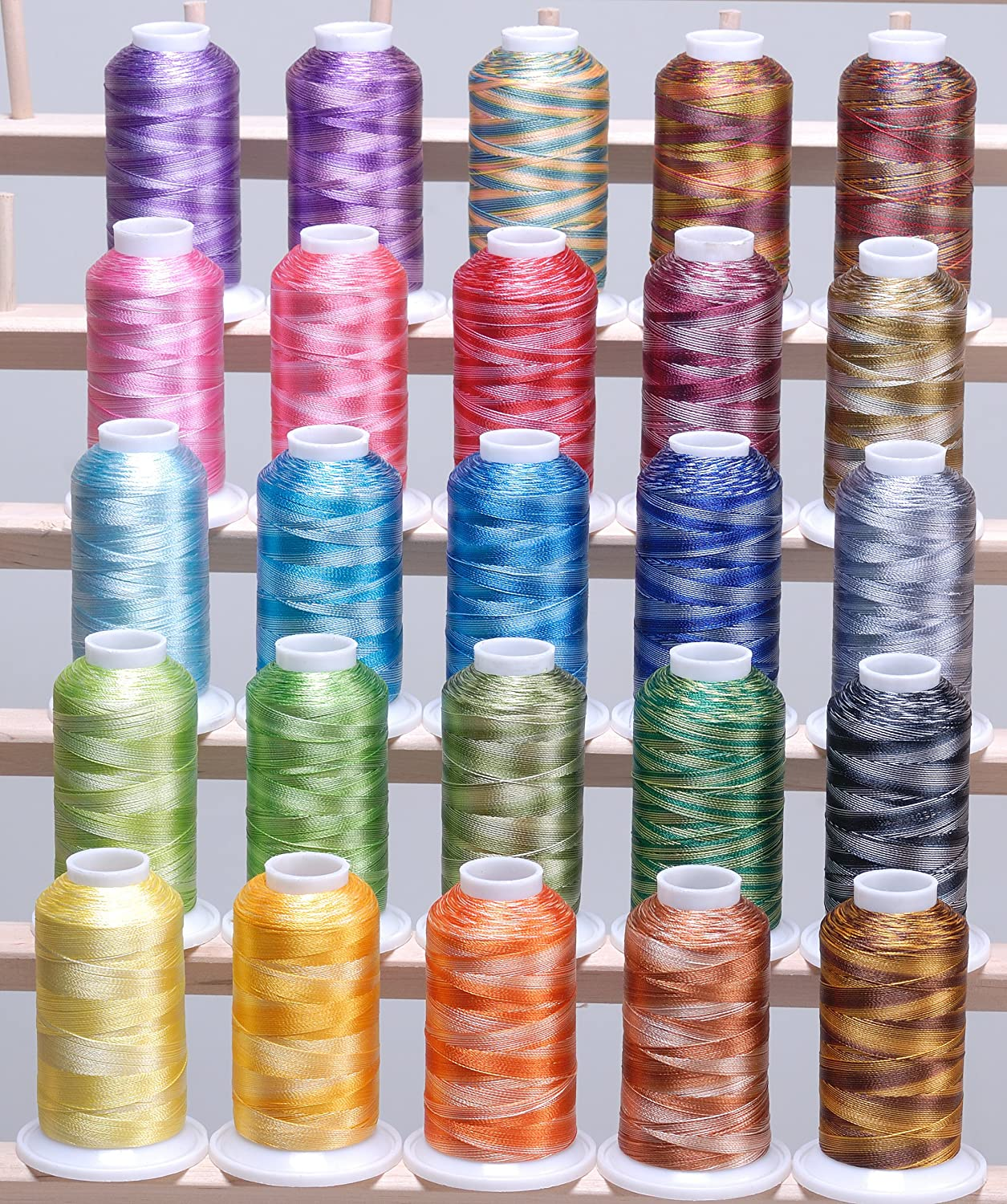 ThreadNanny LARGE 25 Cones Variegated Colors Polyester Machine Embroidery Machine Thread for Brother Babylock Janome Singer Pfaff Husqvarna Bernina Machines by ThreadNanny
