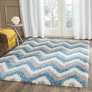 Amazon Com Safavieh Kids Shag Collection Sgk568c Chevron 2 Inch Thick Area Rug 8 X 10 Ivory Blue Furniture Decor